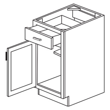 """Shaker Cherry 15"""" Single Door / Single Drawer Base Cabinet-Ready to assemble"""