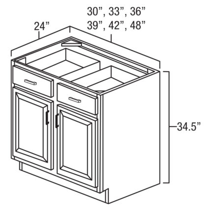 """Legacy Oak 39"""" x 24"""" Double Door / Double Drawer Base Cabinet-Ready to assemble"""