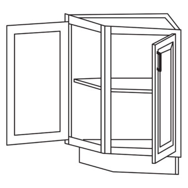 """Shaker Cherry 24"""" Base End Angle Cabinet-Ready to assemble"""