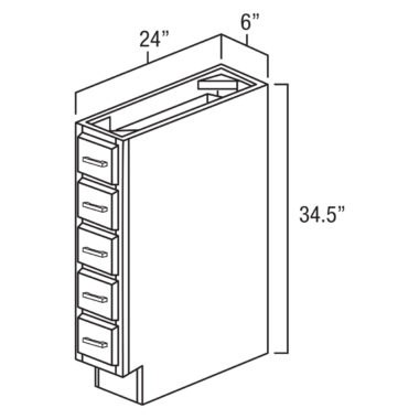 """Shaker Cherry 6"""" Base Spice Drawer-Ready to assemble"""