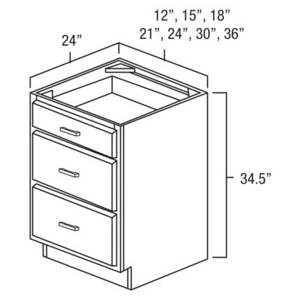 "York Cherry 36"" Drawer Base Cabinet-Ready to assemble"
