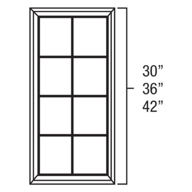 "York Cherry Mullion Door for a 24"" x 36"" Wall Diagonal Corner Cabinet"