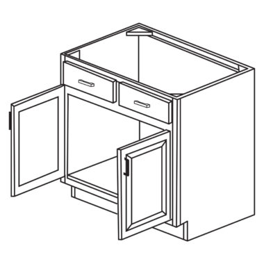 "Heritage White 36"" Sink Base Cabinet-Ready to assemble"