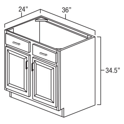 """York Coffee 36"""" Sink Base Cabinet-Ready to assemble"""