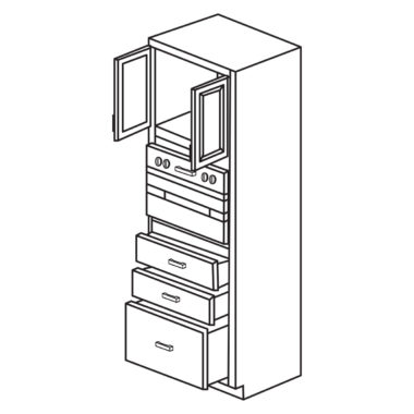 """Heritage White 33"""" x 84"""" Universal Oven Cabinet-Ready to assemble"""