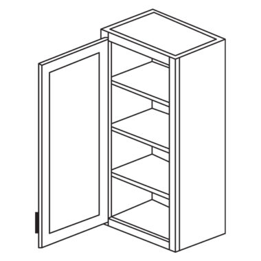 """Shaker Cherry 15"""" x 30"""" Single Door Wall Cabinet-Ready to assemble"""