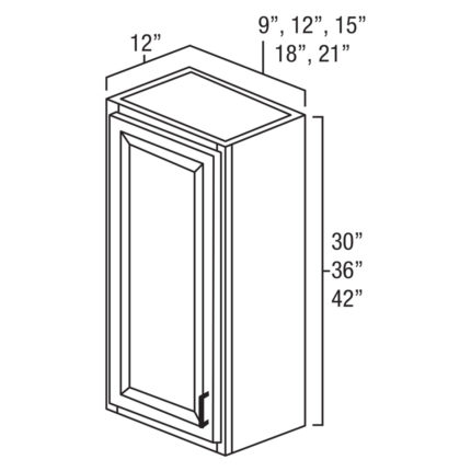 """York Cherry 12"""" x 30"""" SIngle Door Wall Cabinet-Ready to assemble"""