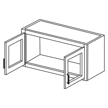 """Shaker Cherry 24"""" x 12"""" Decorative Wall Cabinet / Stacker with Beveled Glass-Ready to assemble"""