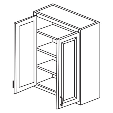 """Shaker Cherry 24"""" x 30"""" Double Door Wall Cabinet-Ready to assemble"""
