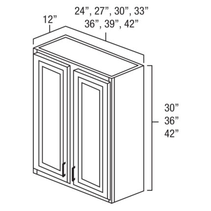 """Shaker Cherry 30"""" x 36"""" Double Door Wall Cabinet-Ready to assemble"""