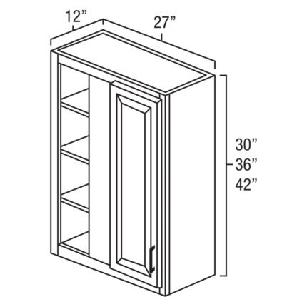 """York Cherry 27"""" x 36"""" Blind Corner Wall Cabinet-Ready to assemble-Ready to assemble"""