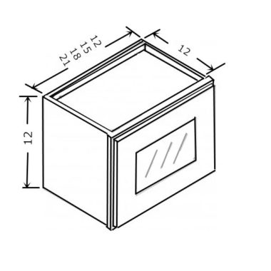 "W2112GD - Wall Glass Door Cabinet - 21""W x 12""H"