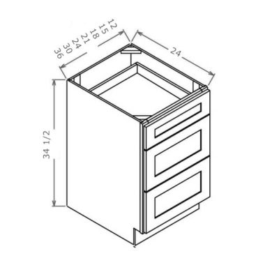 "3DB15 - Drawer Base Cabinet - 15""W"
