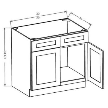 "VS36 - Vanity Sink Base Cabinet - 36""W"
